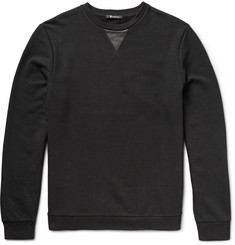Alexander Wang T by Alexander Wang Leather-Trimmed Loopback Cotton-Jersey Sweatshirt