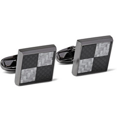 Paul Smith Shoes & Accessories Gunmetal-Plated Checkerboard Cufflinks