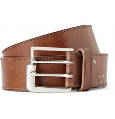 Maison Margiela 3.5cm Tan Distressed Leather Belt