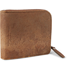 Maison Margiela Zip-Around Distressed-Leather Billfold Wallet