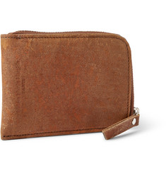 Maison Margiela Zip-Around Distressed Leather Coin Wallet