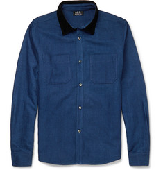 A.P.C. Corduroy-Trimmed Cotton and Linen-Blend Shirt Jacket