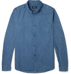 A.P.C. Button-Down Collar Denim Shirt