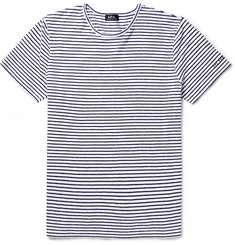 A.P.C. Striped Cotton and Linen-Blend T-Shirt