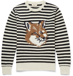 Maison Kitsuné Fox-Intarsia Striped Wool Sweater