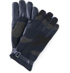 Valentino Camouflage Cashmere and Leather Gloves