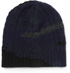 Valentino Camouflage Cable-Knit Wool and Cashmere-Blend Beanie