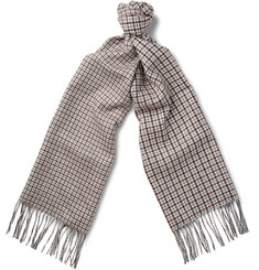 Valentino - Avio Checked Silk and Cashmere-Blend Scarf