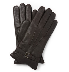 Berluti Cashmere-Lined Grained-Leather Gloves