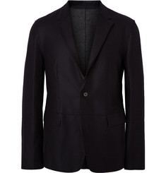 Wooyoungmi Midnight-Blue Unstructured Brushed-Wool Blazer