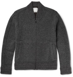 Wooyoungmi Zip-Up Shawl-Collar Boiled Cashmere-Blend Cardigan