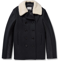 Maison Margiela Faux Shearling-Trimmed Melton Wool Peacoat