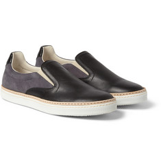 Maison Margiela - Suede and Leather Slip-On Sneakers