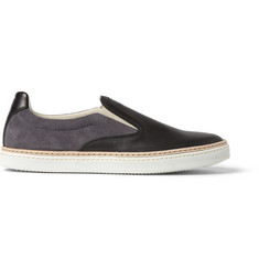 Maison Margiela Suede and Leather Slip-On Sneakers