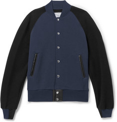 Sacai Leather-Trimmed Cotton-Blend Jersey Bomber Jacket