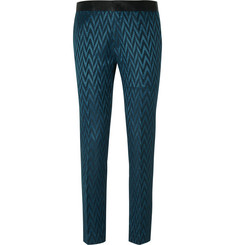 Haider Ackermann Petrol Wool and Silk-Blend Jacquard Trousers