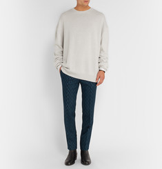 Haider Ackermann Silk Jersey-Trimmed Wool and Cashmere-Blend Sweater