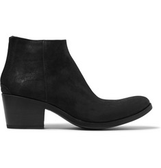 Haider Ackermann Cuban-Heel Brushed-Suede Boots