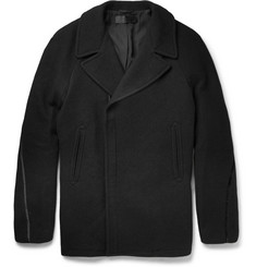 Haider Ackermann Oversized Velvet-Trimmed Wool Peacoat