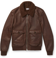 Brunello Cucinelli Shearling-Lined Leather Bomber Jacket