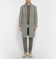 Brunello Cucinelli Solomeo Cashmere and Silk-Blend Herringbone Coat