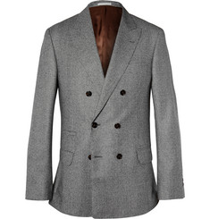 Brunello Cucinelli Grey Double-Breasted Houndstooth Wool Jacket