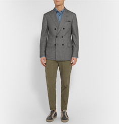 Brunello Cucinelli Double-Breasted Houndstooth Wool Jacket