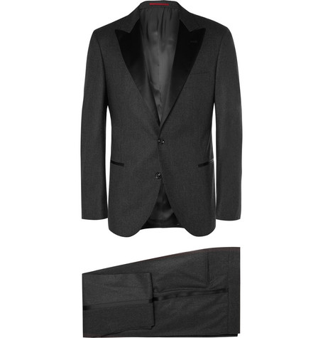 Charcoal Slim Fit Wool, Silk And Cashmere Blend Tuxedo by Brunello Cucinelli
