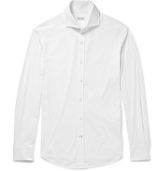 Brunello Cucinelli Slim-Fit Spread-Collar Cotton-Jersey Shirt