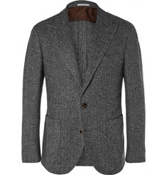 Brunello Cucinelli Grey Unstructured Herringbone Wool, Silk and Cashmere-Blend Blazer