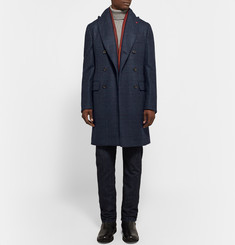 Isaia Glen Plaid Double-Faced Wool Overcoat