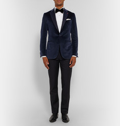 Isaia Navy Gregory Slim-Fit Velvet Tuxedo Jacket