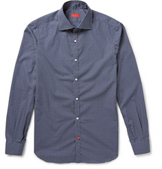 Isaia Slim-Fit Floral-Print Cotton-Poplin Shirt