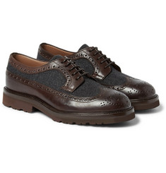 Brunello Cucinelli - Tweed-Panelled Leather Brogues