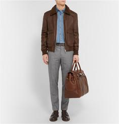 Brunello Cucinelli Tweed-Panelled Leather Brogues