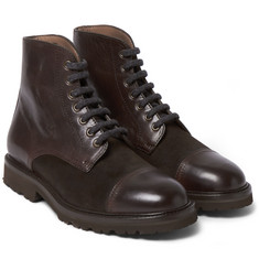 Brunello Cucinelli Cashmere Lace-Up Leather Boots
