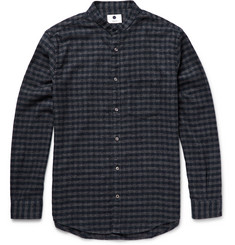 NN.07 Devon Grandad-Collar Checked Cotton-Flannel Shirt