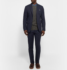 NN.07 Midnight-Blue Soho Slim-Fit Wool-Blend Flannel Trousers