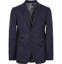 NN.07 Midnight-Blue Soho Slim-Fit Wool-Blend Flannel Blazer