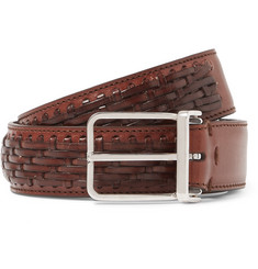 Brunello Cucinelli Brown 3cm Cross-Hatch Woven Leather Belt