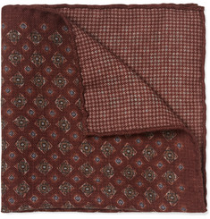 Brunello Cucinelli Double-Faced Patterned Wool Pocket Square