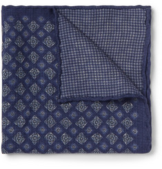 Brunello Cucinelli Double-Faced Patterned-Wool Pocket Square