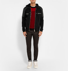 Balmain Leather-Panelled Cotton-Jersey Hoodie