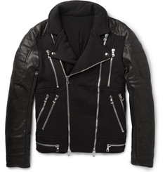 Balmain Cotton-Panelled Leather Biker Jacket