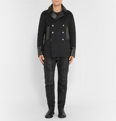 Balmain Leather-Trimmed Wool and Cashmere-Blend Peacoat
