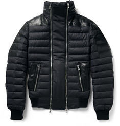 Balmain Leather-Trimmed Quilted Shell Jacket