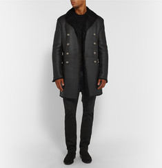 Balmain Shearling-Lined Leather Jacket