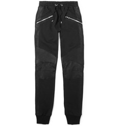 Balmain Slim-Fit Biker-Style Leather-Trimmed Cotton-Jersey Sweatpants