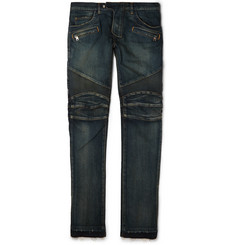 Balmain Regular-Fit Washed Stretch-Denim Biker Jeans