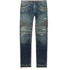 Balmain Slim-Fit Distressed Stretch-Denim Biker Jeans
